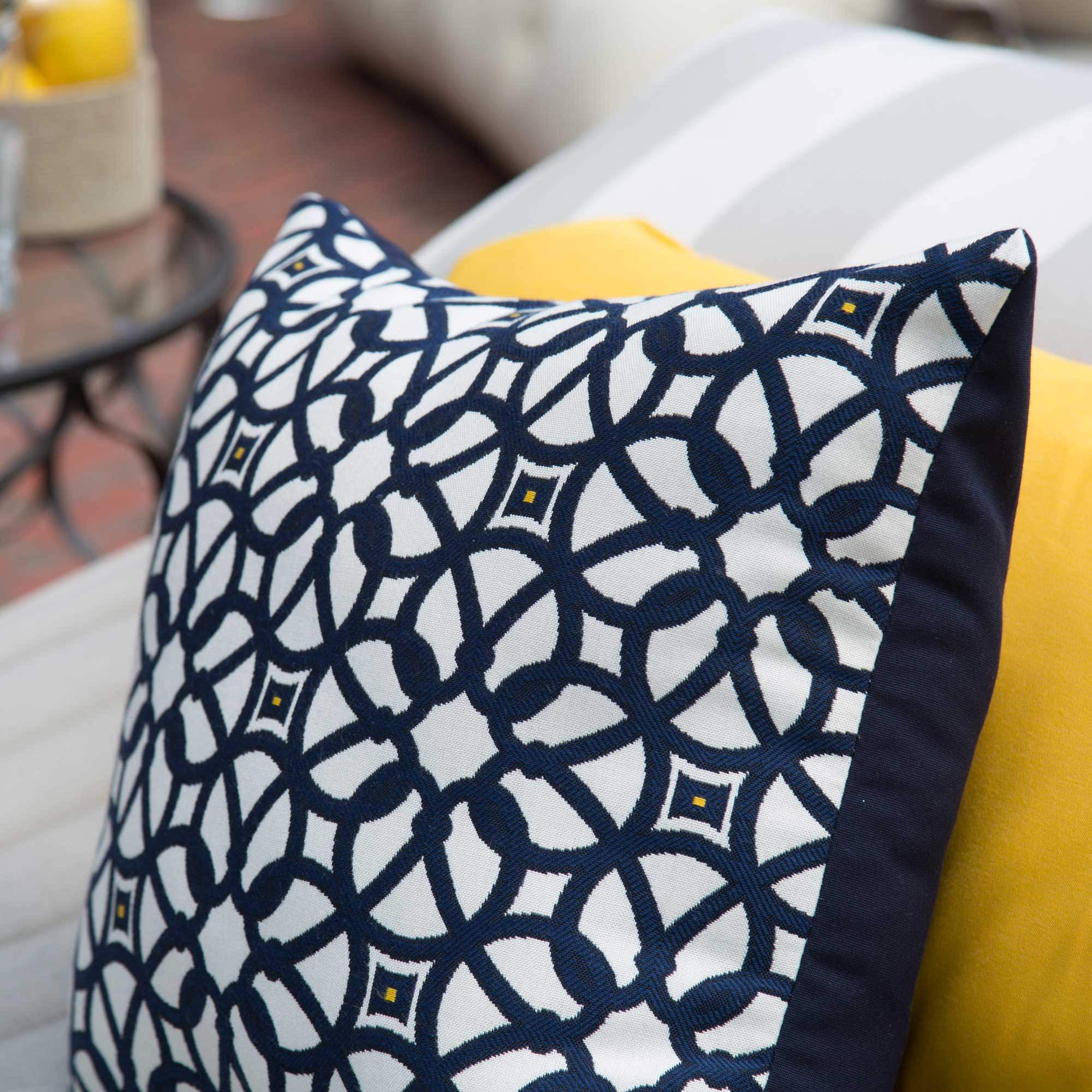 luxe indigo sunbrella designer porch pillow luxe indigo sunbrella outdoor throw pillows on sale  rh   hatterashammocks