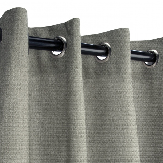 Sunbrella Canvas Charcoal Outdoor Curtain with Nickel Grommets