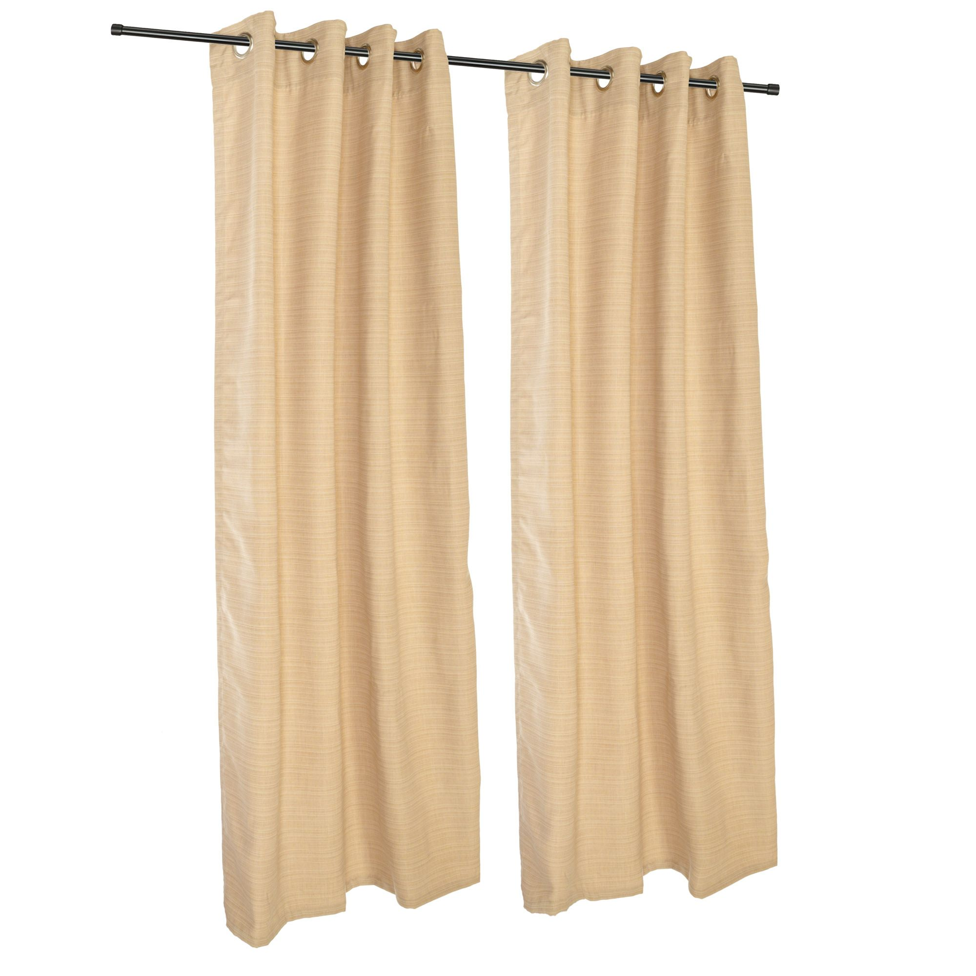 Sunbrella Dupione Bamboo Outdoor Curtain with Nickel Plated Grommets by Hatteras Hammocks