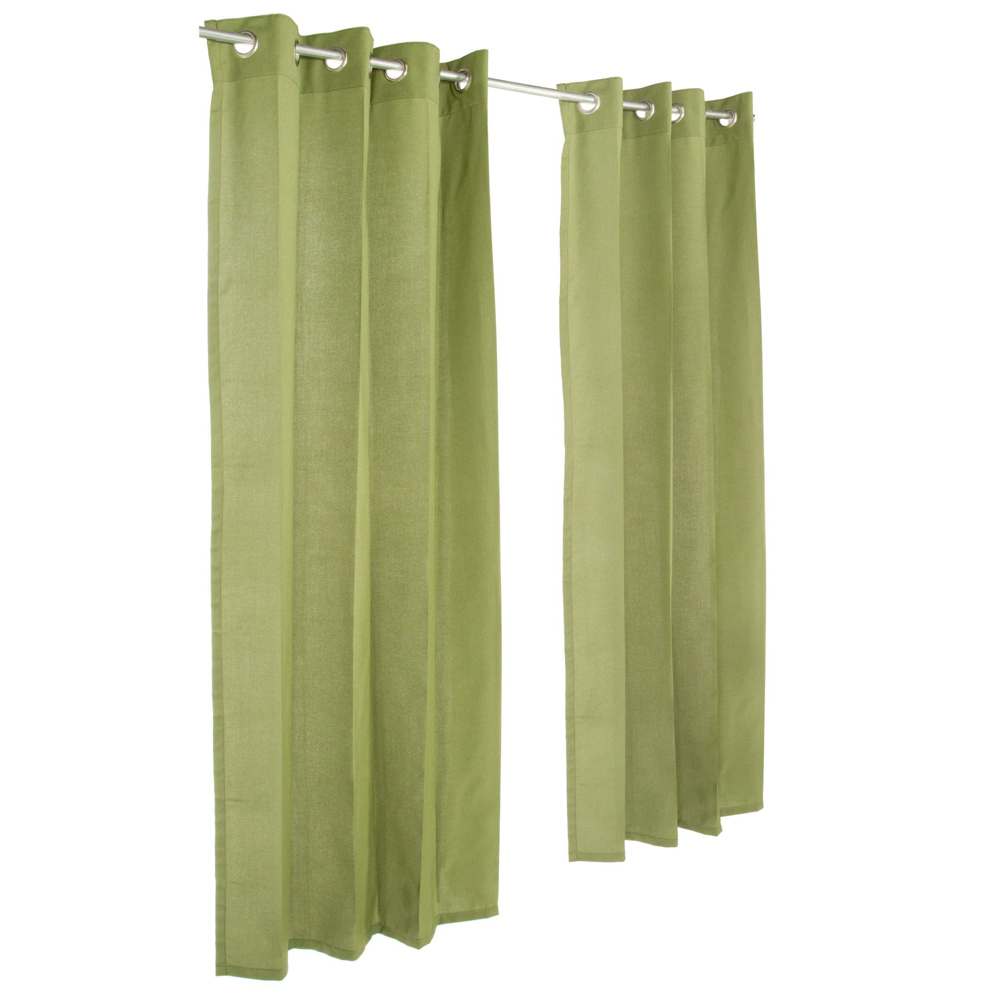 Sunbrella Spectrum Cilantro Outdoor Curtain with Nickel Plated Grommets by Essentials by DFO