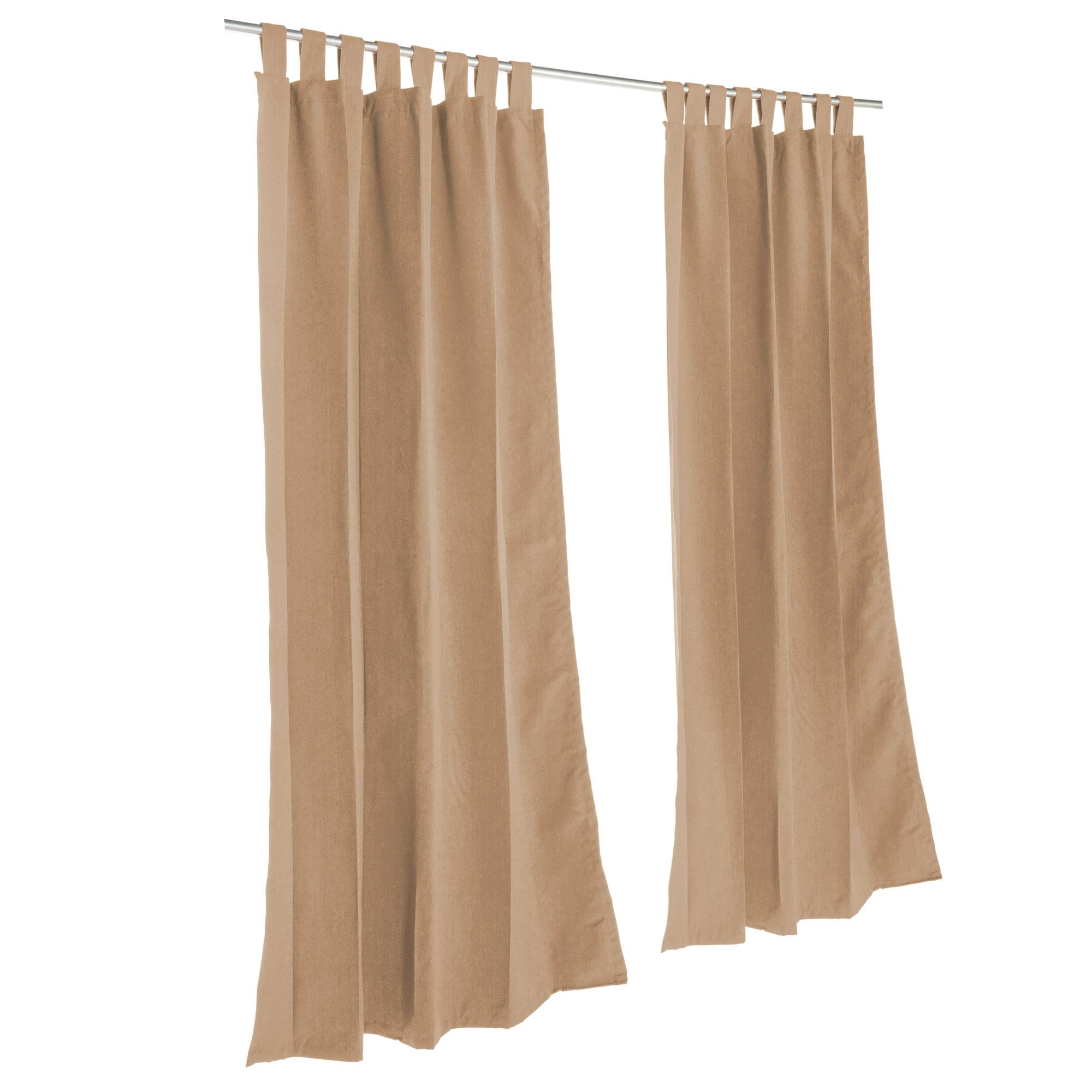 Canvas Cocoa Sunbrella Outdoor Curtain With Tabs by Essentials by DFO
