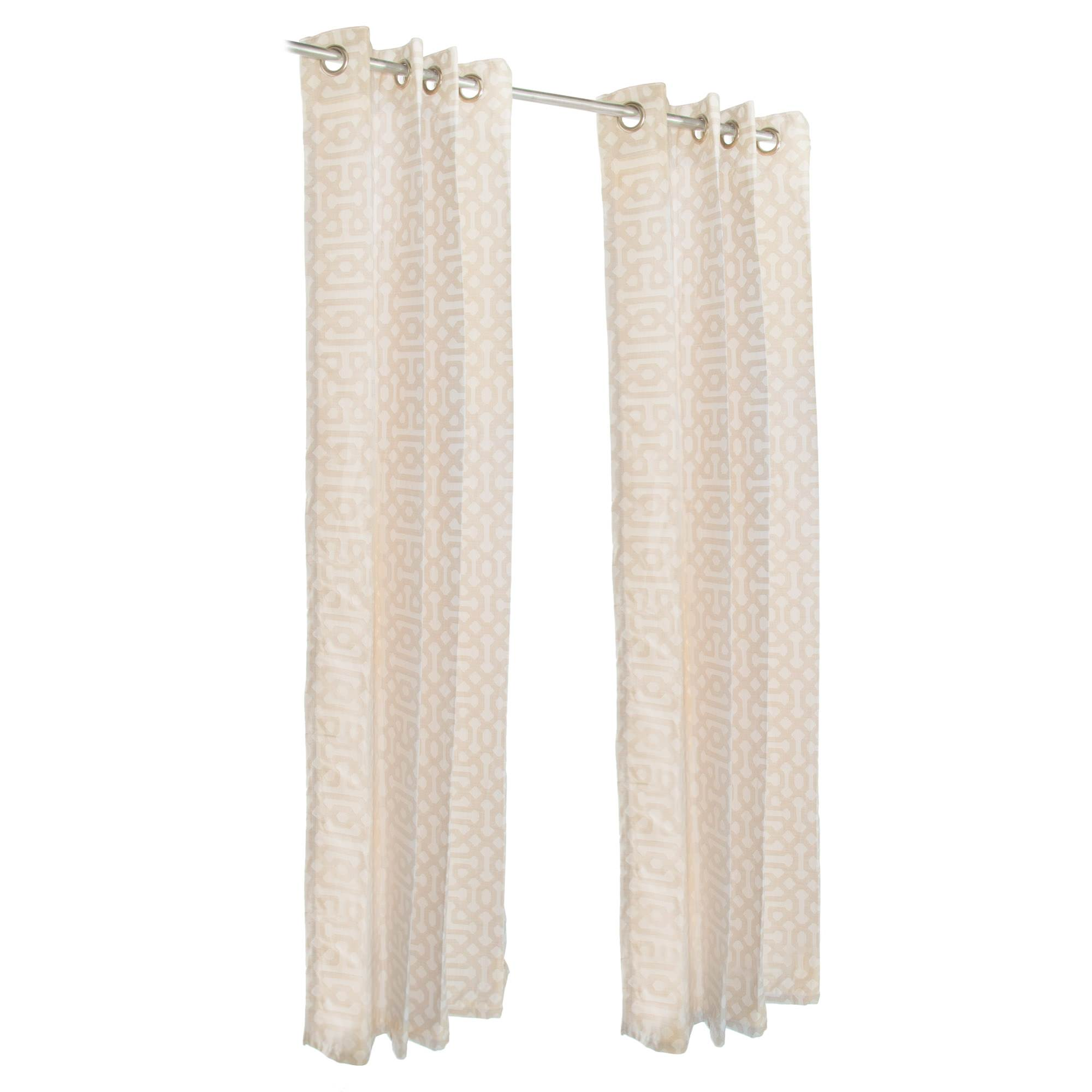 Fretwork Flax Sunbrella Nickel Grommeted Outdoor Curtain by Pawleys Island