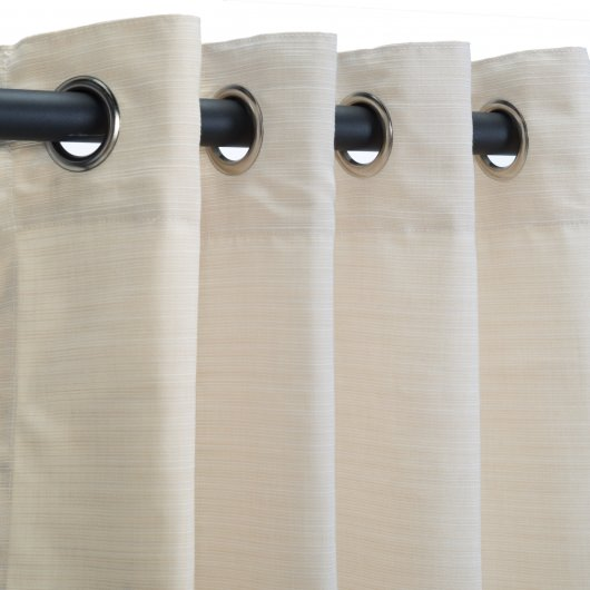Sunbrella Dupione Pearl Outdoor Curtain with Nickel Plated Grommets