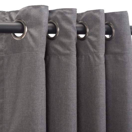 Sunbrella Cast Slate Outdoor Curtain with Nickel Plated Grommets