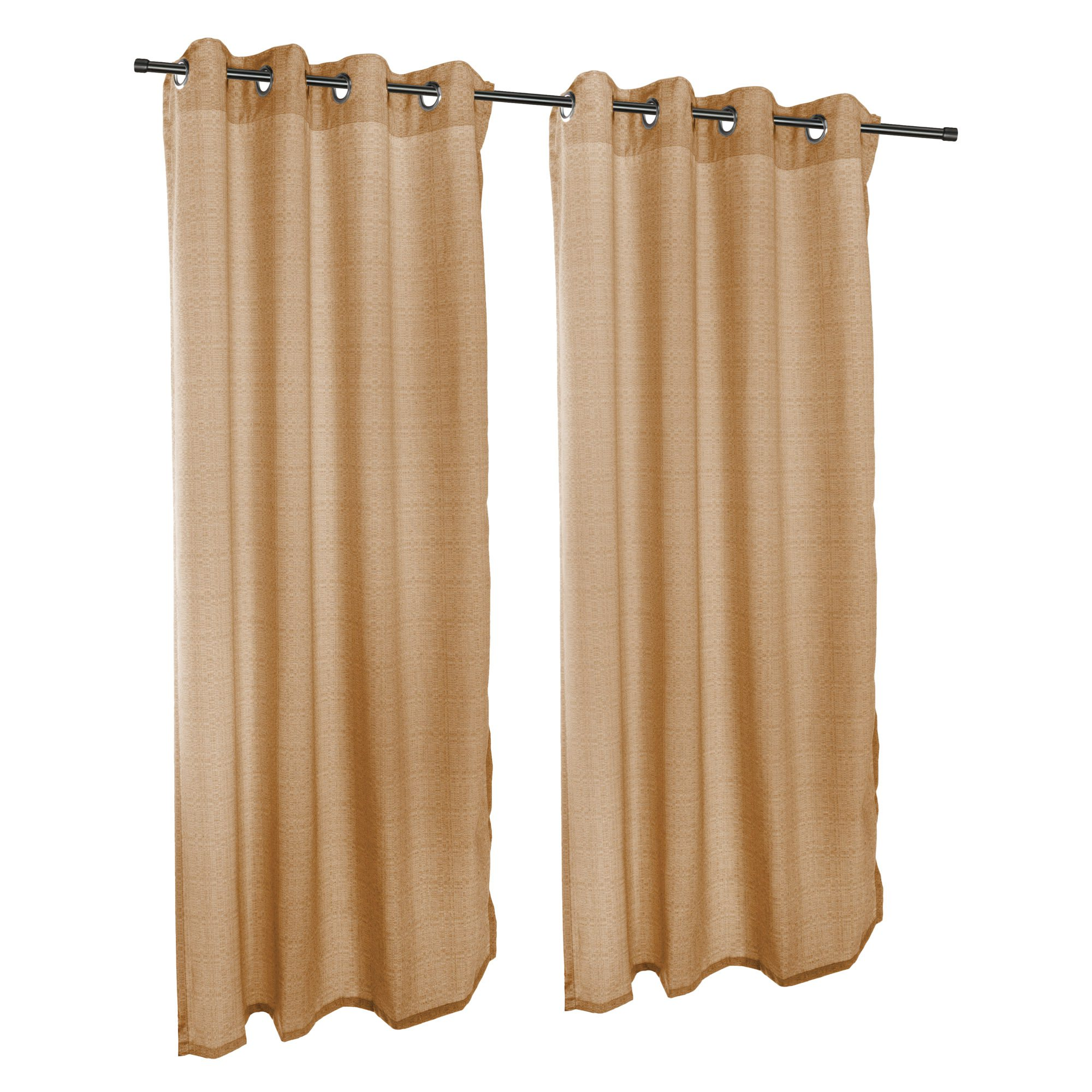 Sunbrella Outdoor Curtain With Nickel Grommets - Linen Sesame by Essentials by DFO