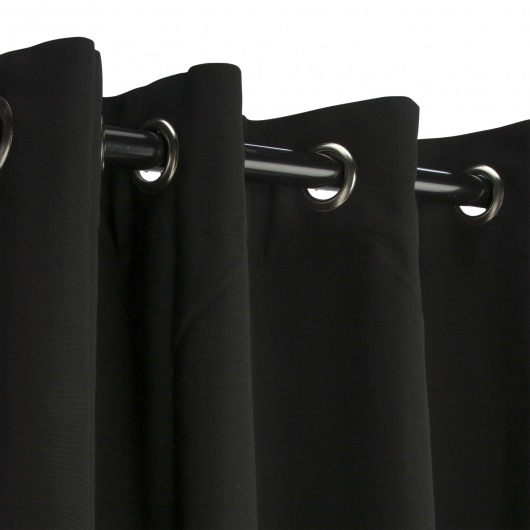Sunbrella Canvas Black Outdoor Curtain with Nickel Plated Grommets