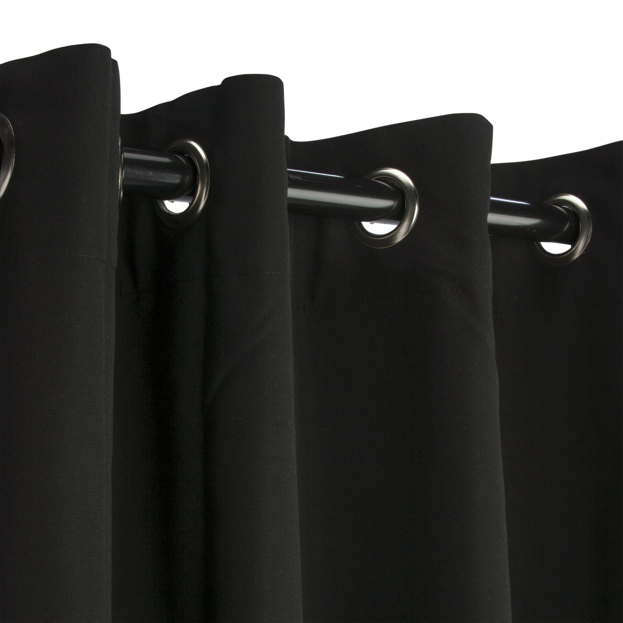 Black Sunbrella Nickel Grommeted Outdoor Curtain by Essentials by DFO