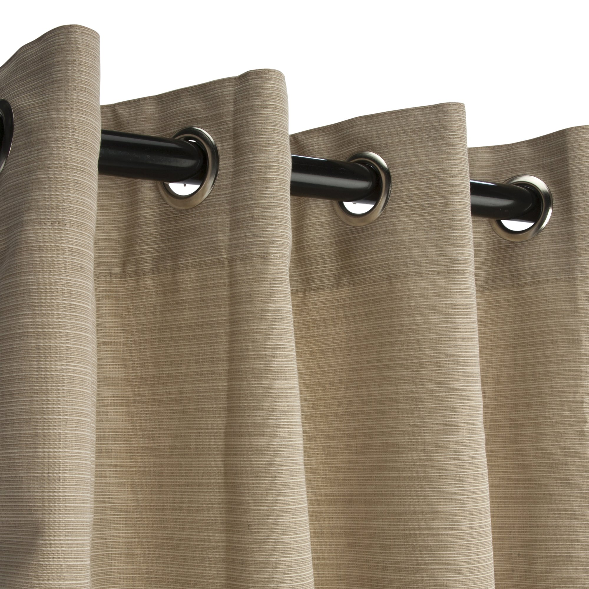 Sunbrella Dupione Sand Outdoor Curtain with Nickel Plated Grommets
