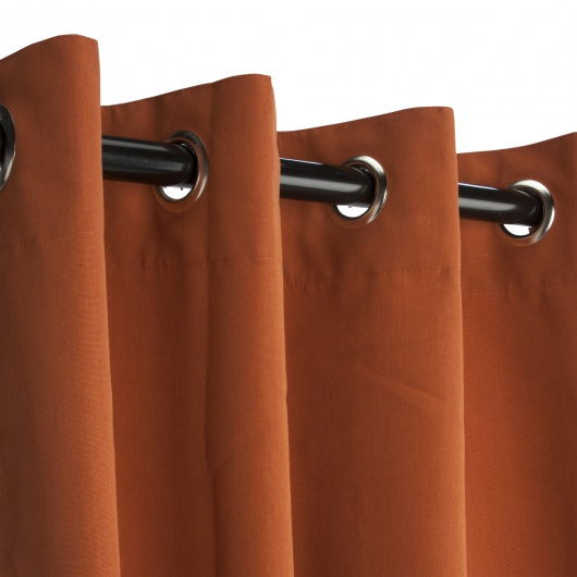 Sunbrella Canvas Rust Outdoor Curtain with Nickel Plated Grommets