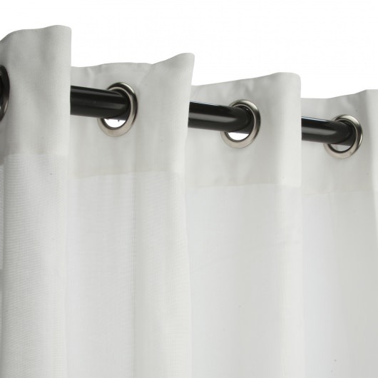 Sunbrella Sheer Snow Outdoor Curtain with Nickel Plated Grommets