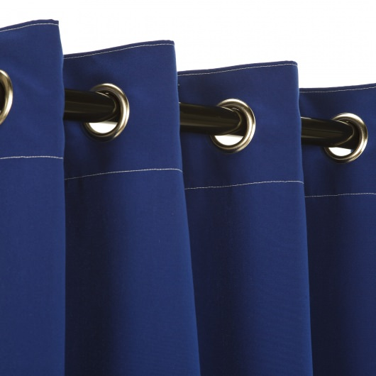 Sunbrella Canvas True Blue Outdoor Curtain with Nickel Plated Grommets