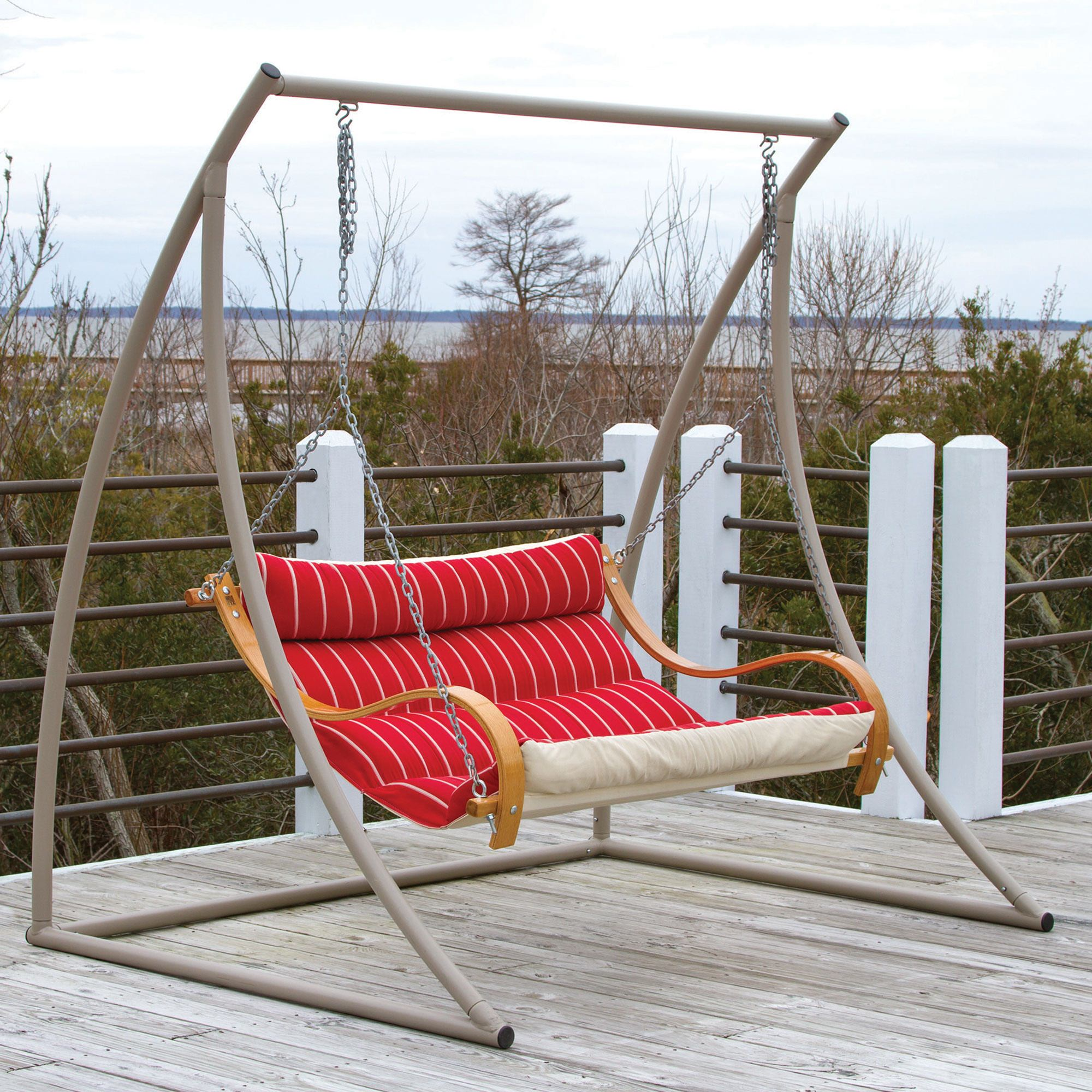 Curved Taupe Metal Swing Stand by Hatteras Hammocks
