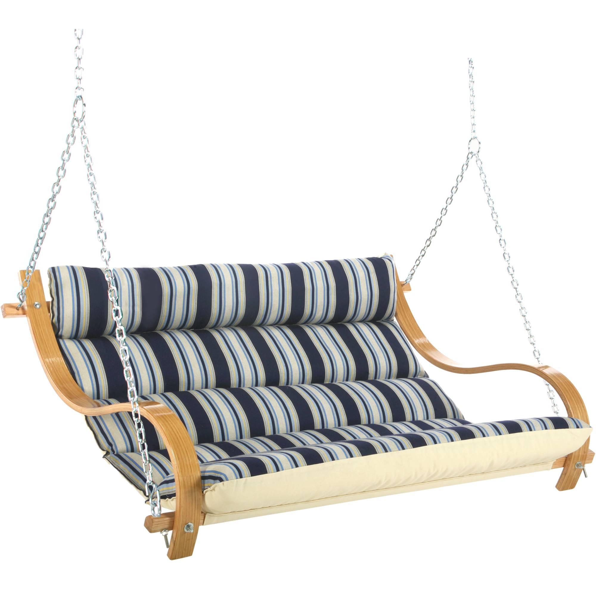Hamptons Summer Stripe Deluxe Cushioned Double Swing
