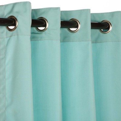 Sunbrella Linen Silver Outdoor Curtain with Grommets