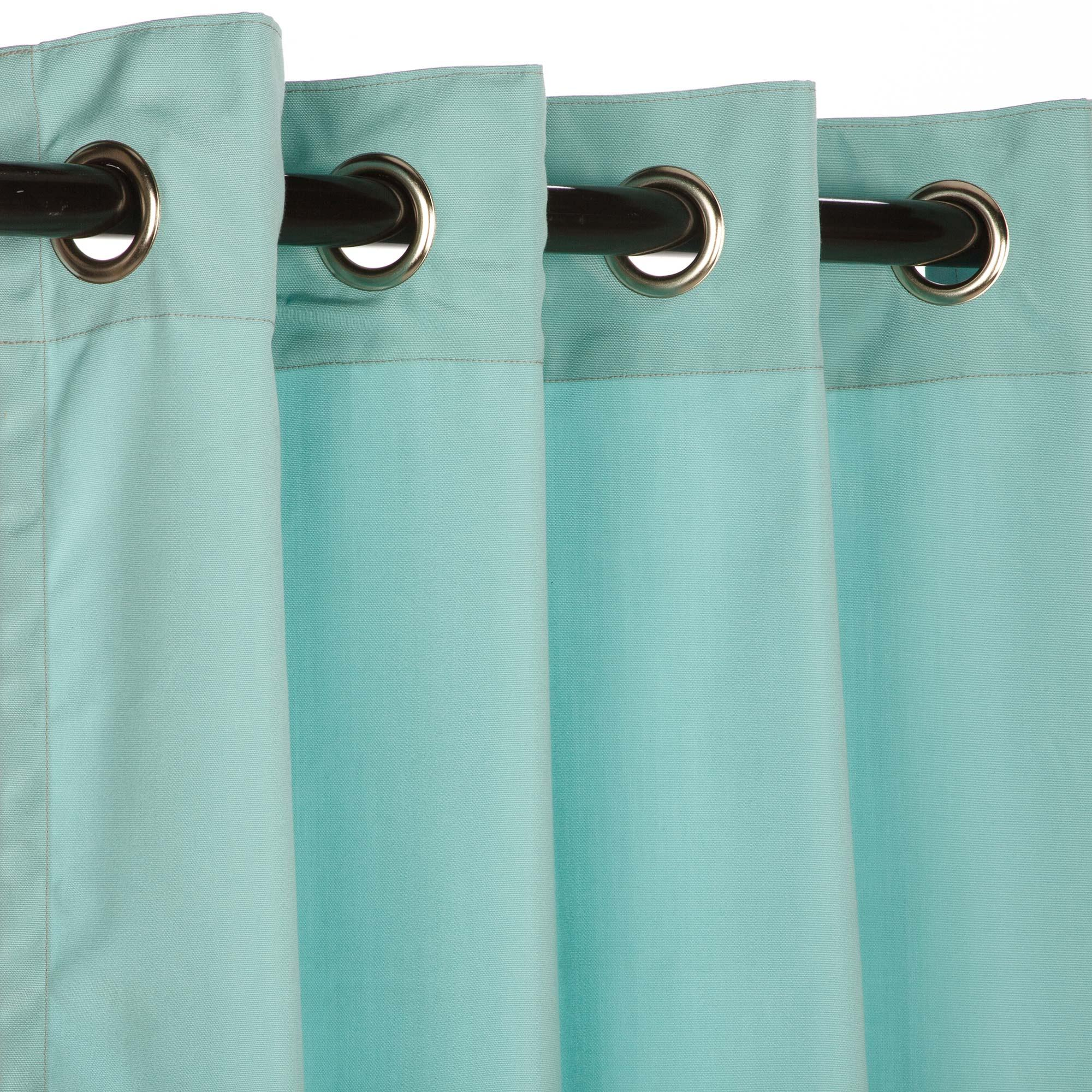 Sunbrella Outdoor Curtain With Nickel Grommets - Canvas Glacier by Essentials by DFO