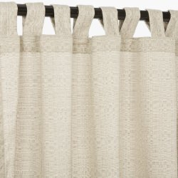 Linen Silver Sunbrella Outdoor Curtain With Tabs