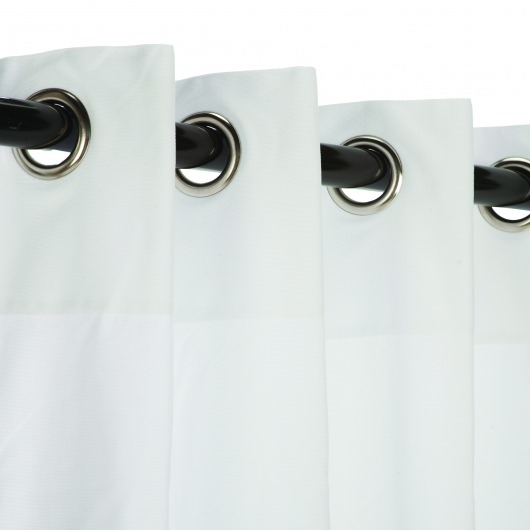 Sunbrella Canvas White Outdoor Curtains with Nickel Plated Grommets