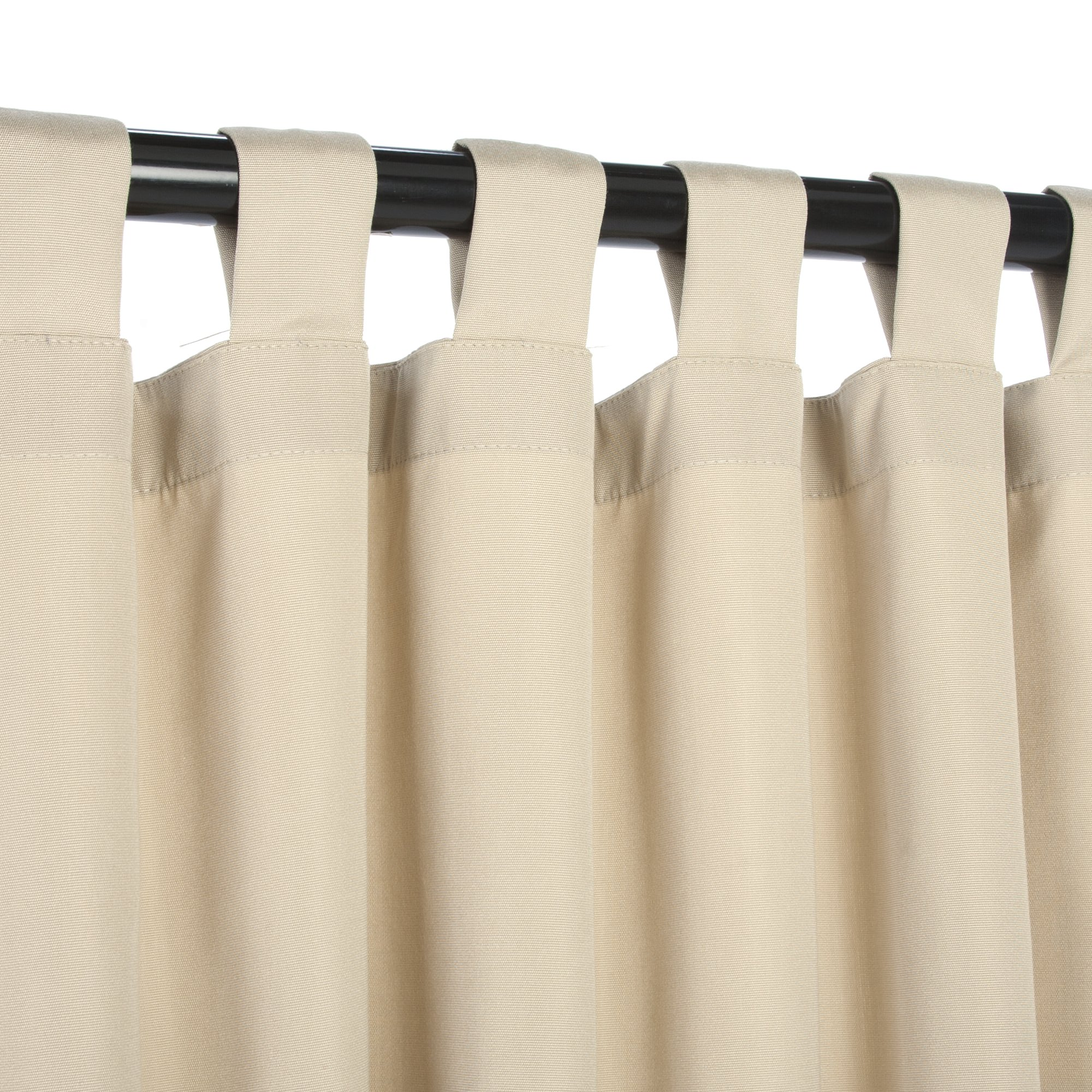 sunbrella outdoor curtain with tabs in antique beige 50 in