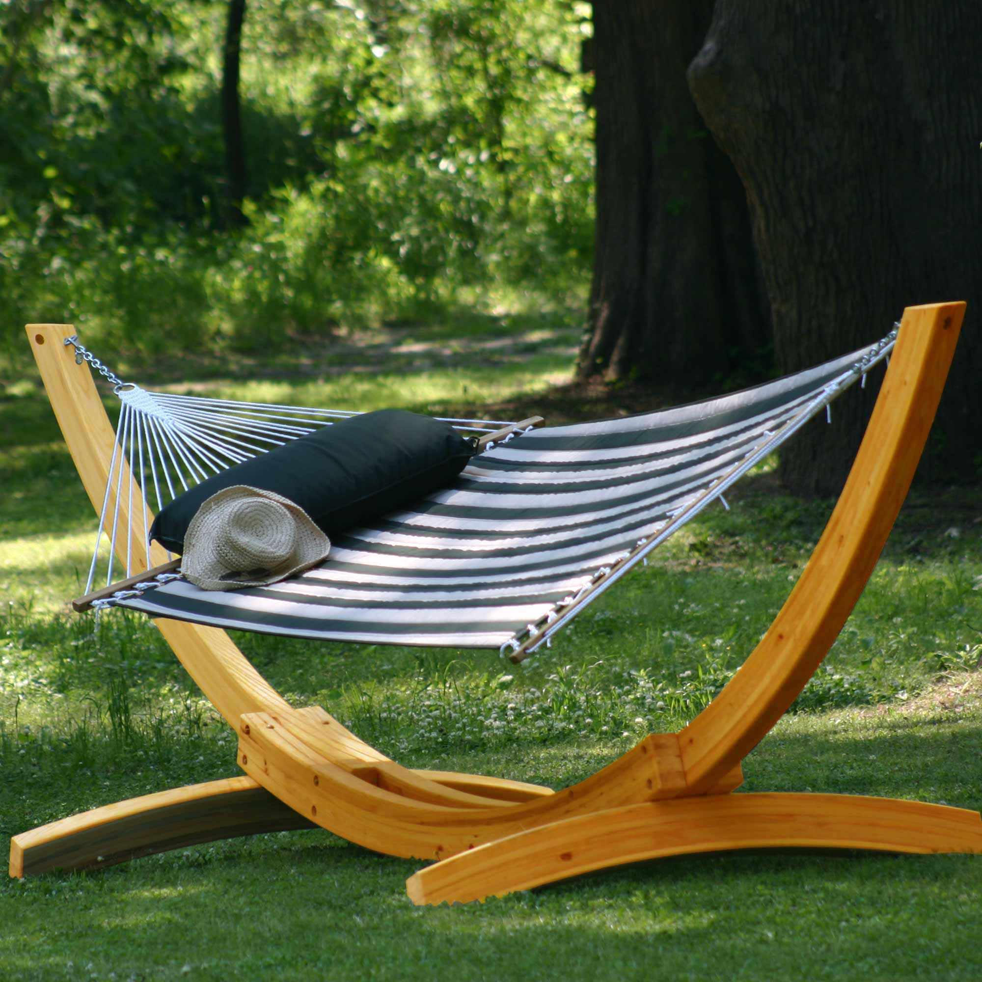 Medium image of deluxe roman arc cypress hammock stand