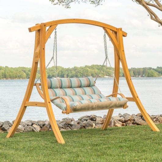 Deluxe Cushioned Double Swing Made With Sunbrella Gateway Mist