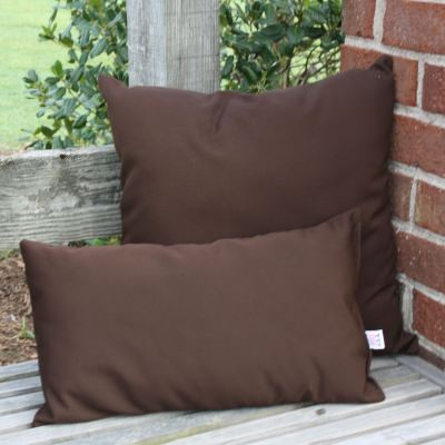 Cocoa Sunbrella Outdoor Throw Pillow 19 in. x 10 in. Rectangle/Lumbar