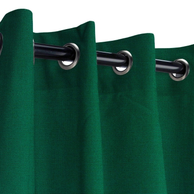 Sunbrella Canvas Forest Green Outdoor Curtain with Nickel Plated Grommets