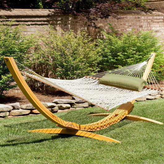 Deluxe Rope Hammock with Wooden Stand