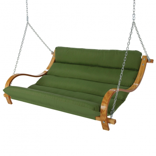 Deluxe Cushion Curved Oak Double Swing Made with Duracord - Leaf Green