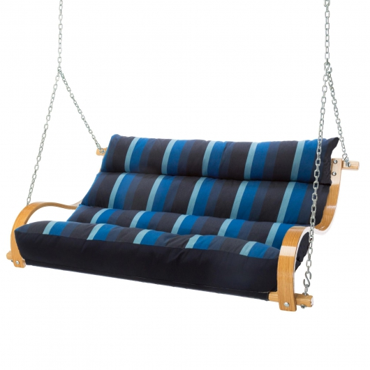 Deluxe Cushion Curved Oak Double Swing Made with Sunbrella - Gateway Indigo