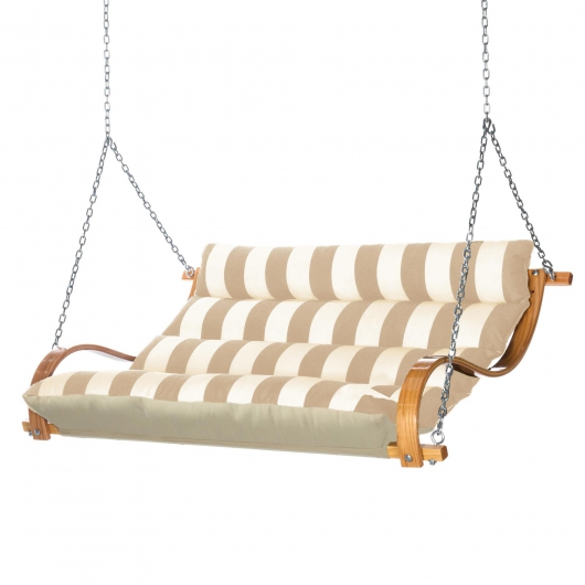 Deluxe Cushion Curved Oak Double Swing Made with Sunbrella - Regency Sand