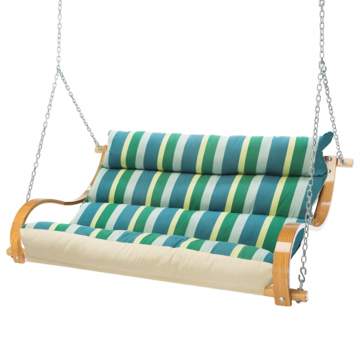 Deluxe Cushion Curved Oak Double Swing Made with Sunbrella - Gateway Tropic