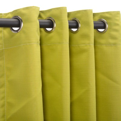 Sunbrella Echo Limelite Outdoor Curtain with Nickel Plated Grommets