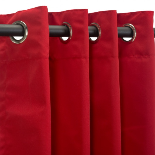 Sunbrella Canvas Jockey Red Outdoor Curtain with Grommets