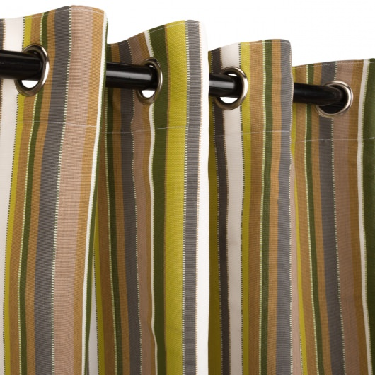 Sunbrella Carousel Limelight Outdoor Curtain with Nickel Plated Grommets in 50 in x 108 in