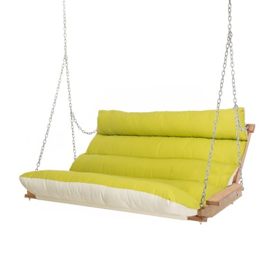 Deluxe Cushion Double Swing Made with Sunbrella - Echo Limelight