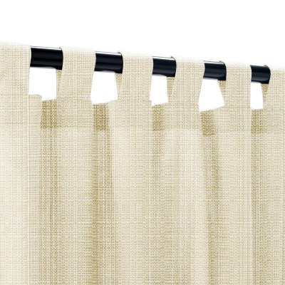 Sunbrella Linen Antique Beige Outdoor Curtain with Tabs