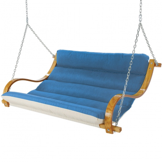 Deluxe Cushion Curved Oak Double Swing Made with Sunbrella - Canvas Regatta