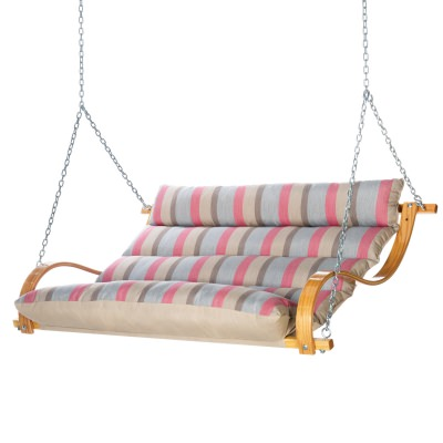 Deluxe Sunbrella Cushion Curved Oak Double Swing - Gateway Blush