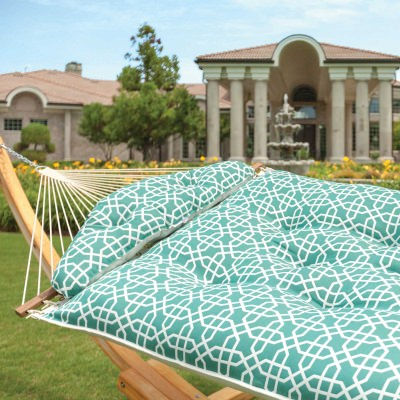 Large Sunbrella Tufted Hammock - Bevel Lagoon