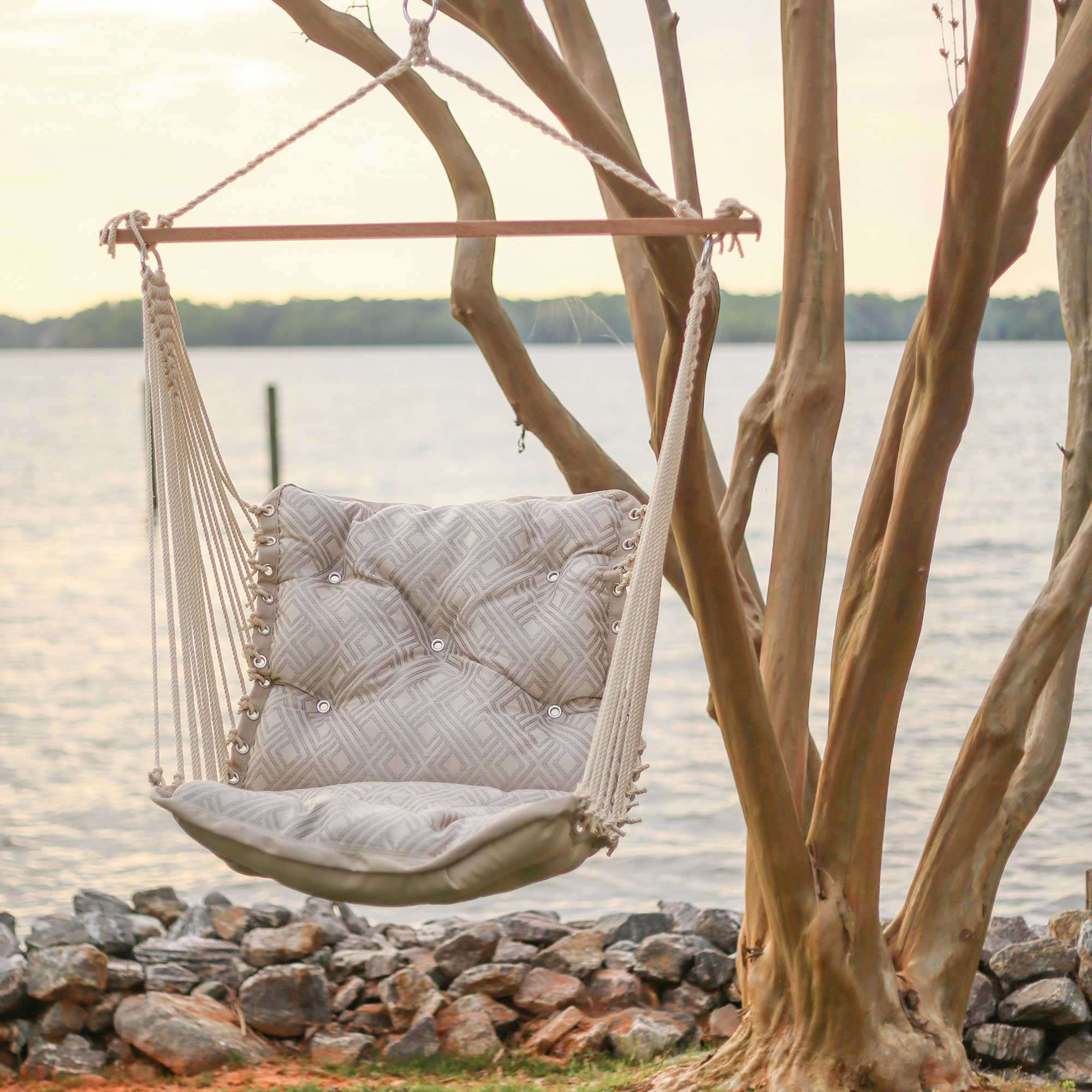 Integrated Pewter Tufted Single Porch Swing Hatteras