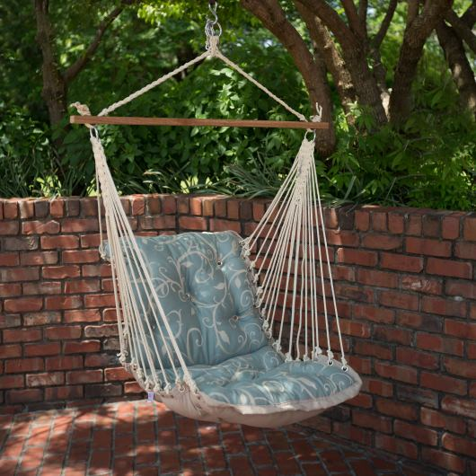 Tufted Single Swing Made with Sunbrella - Cabaret Blue Haze