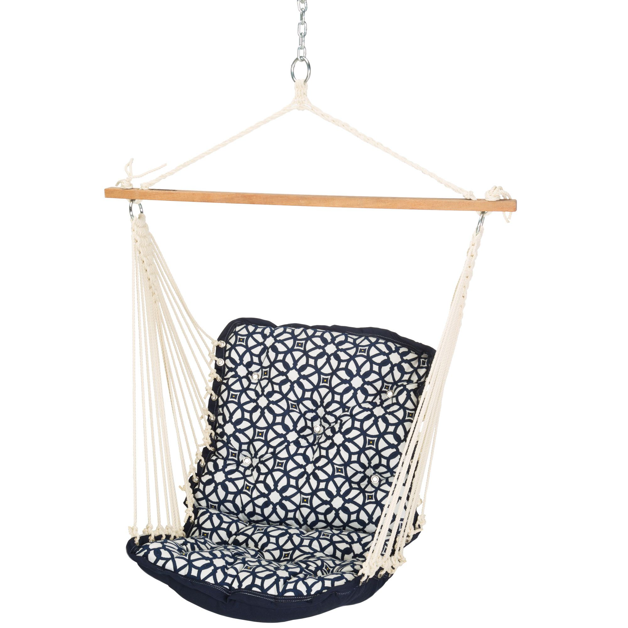 Relatively Luxe Indigo Tufted Single Porch Swing QW36