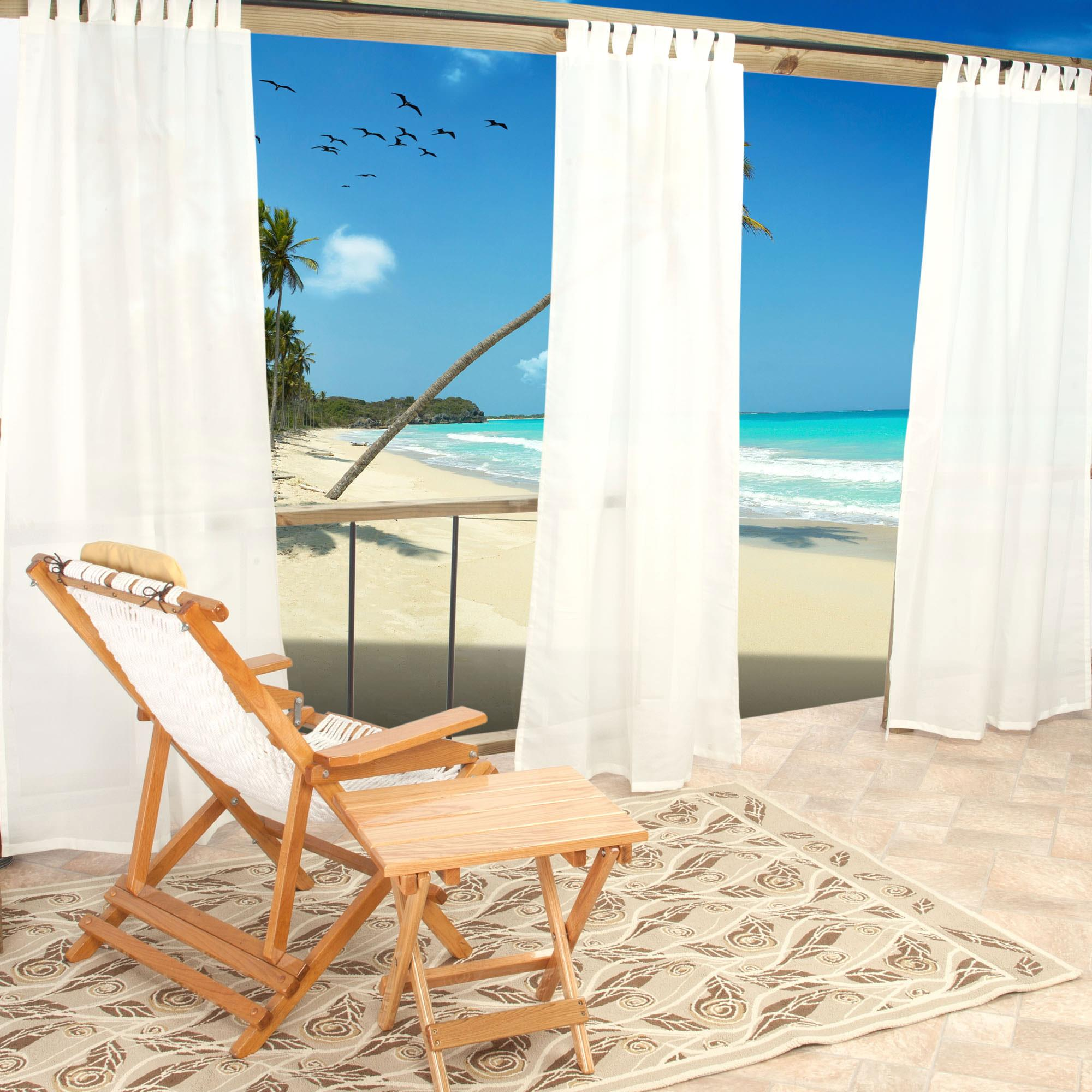 Sheer White Weathersmart Outdoor Curtain With Tabs 96 Hatteras Hammocks Sku Cur96vn Curtains